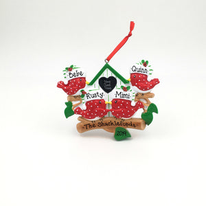 4 Red Birds in a Bird House Personalized Christmas Ornament