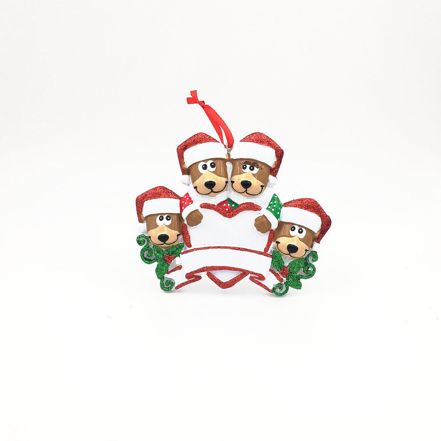 4 Teddy Bears Personalized Christmas Ornament