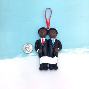 Grooms Personalized Christmas Ornament / African American / Same Sex Male Couple / First Christmas / Personalized / Groomsmen / Partners