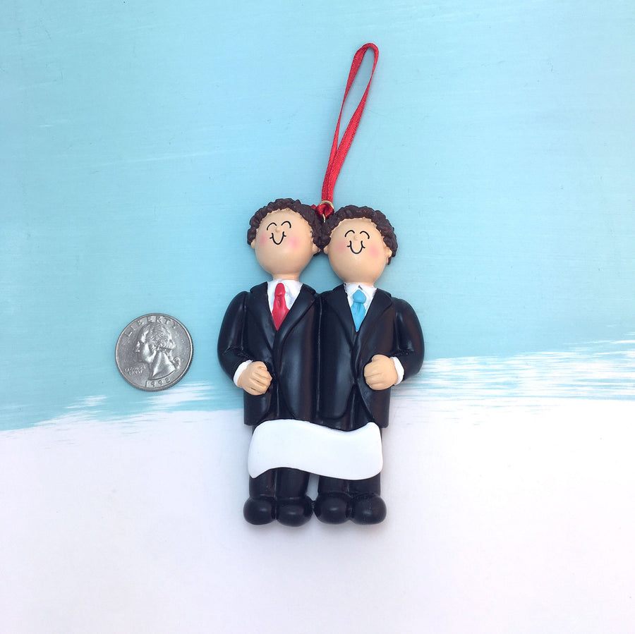 Grooms Personalized Christmas Ornament / Two Brunettes / Same Sex Male Couple / First Christmas / Personalized / Groomsmen / Partners