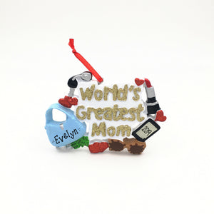 World's Greatest Mom Personalized Christmas Ornament / Mom Ornament
