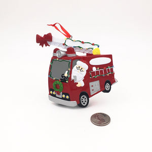 Santa's Firetruck Personalized Christmas Ornament / Santa Claus Gift for kids