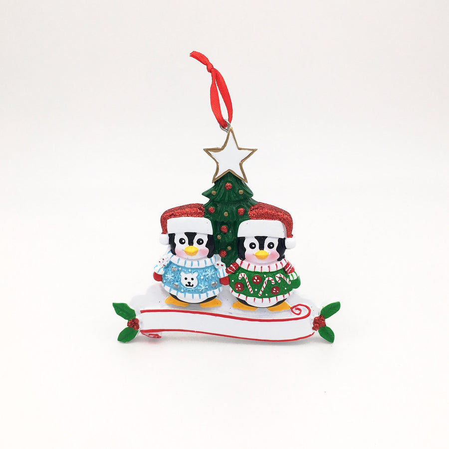 Penguin Couple in Winter Sweaters Personalized Christmas Ornament / First Christmas / Whimsical Couple Ornament