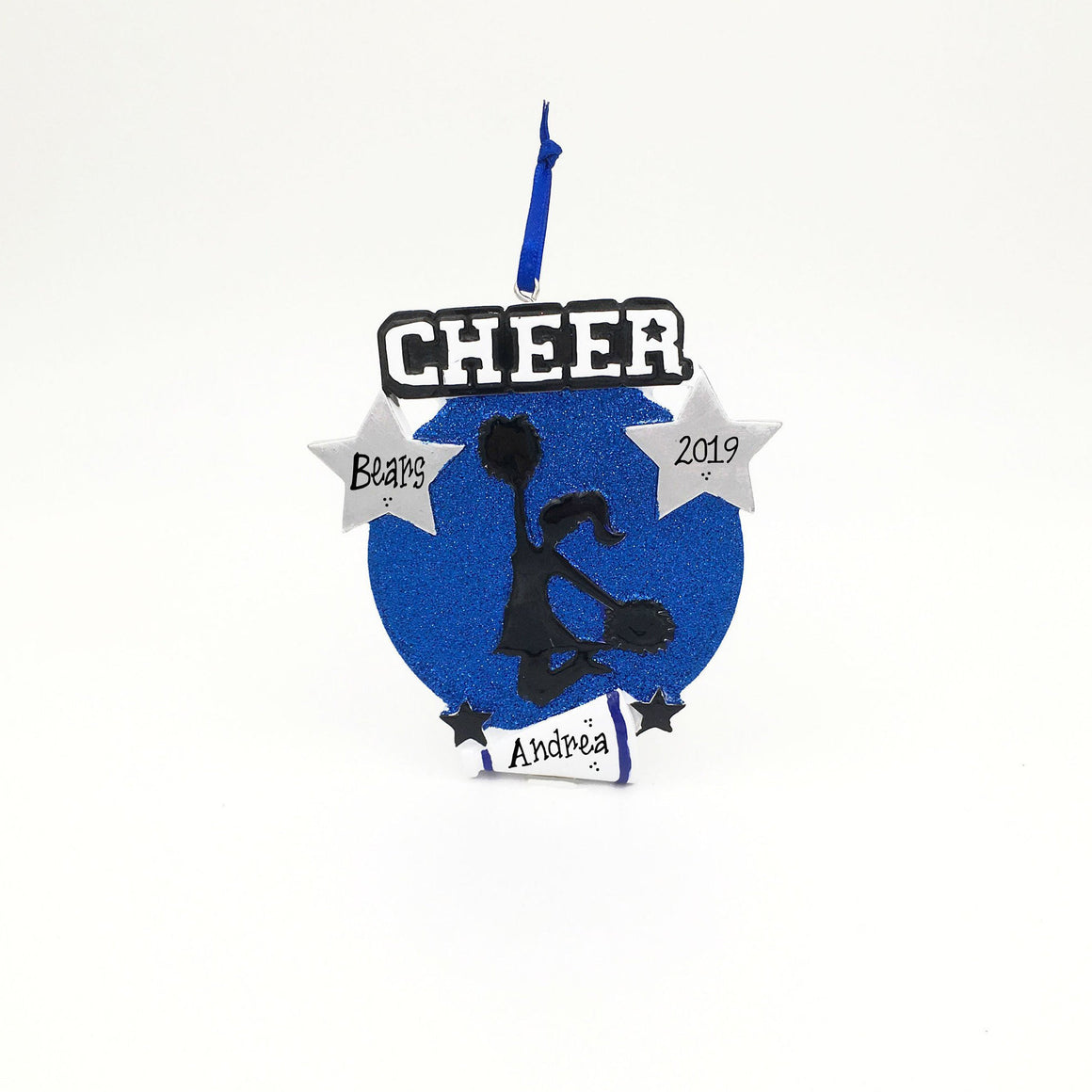 Cheerleader Medallion Christmas Ornament / Cheerleading Ornament Blue and Black / Personalized Christmas Ornament / Cheer Team Ornament