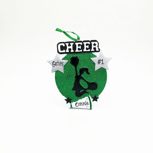Cheerleader Medallion Christmas Ornament / Cheerleading Ornament Green and Black / Personalized Christmas Ornament / Cheer Team Ornament