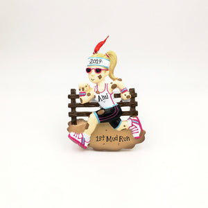 Mudder Woman Personalized Christmas Ornament / Gym Rat / Fitness Ornament / Mud Run / Hand Personalized with Name or Message