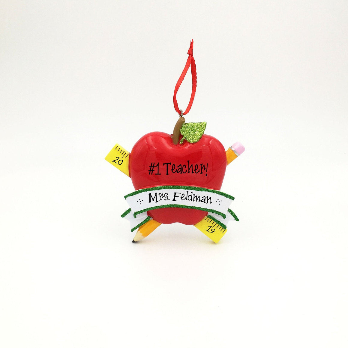 Teacher's Apple Personalized Christmas Ornament / Apple, Pencil and Ruler / Favorite Teacher Ornament / Custom Name or Message