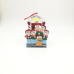 Family of 5 with a Dog Personalized Christmas Ornament