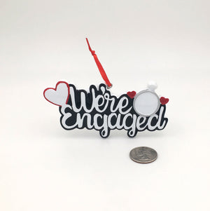 We're Engaged Heart and Ring Personalized Christmas Ornament / First Christmas Ornament / Engagement / Personalized Ornament