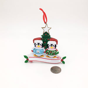 2 Penguins in Ugly Christmas Sweaters Personalized Ornament