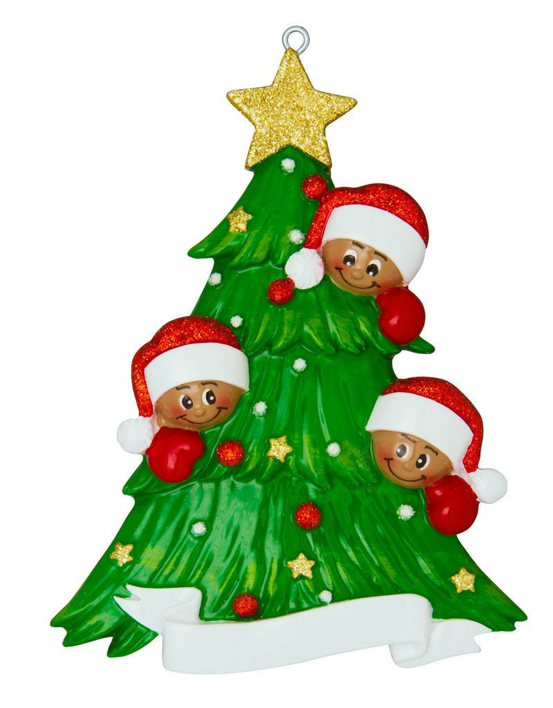 African American Family of 3 Around a Christmas Tree Personalized Ornament