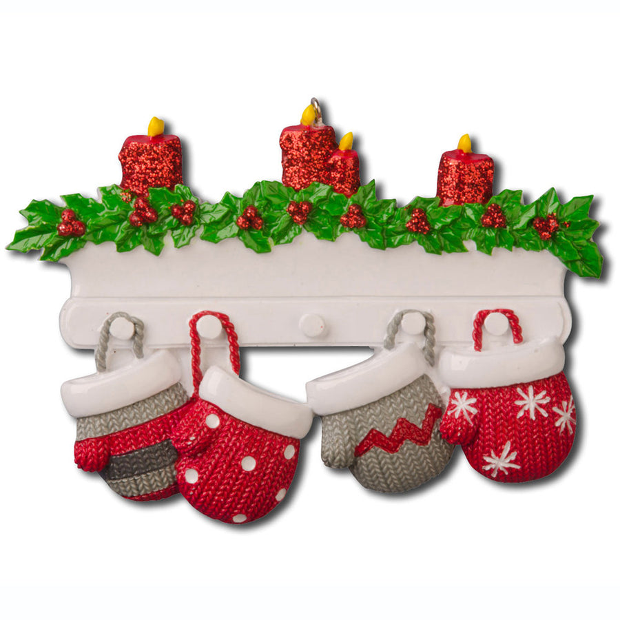 4 Red and Grey Mittens Personalized Christmas Ornament