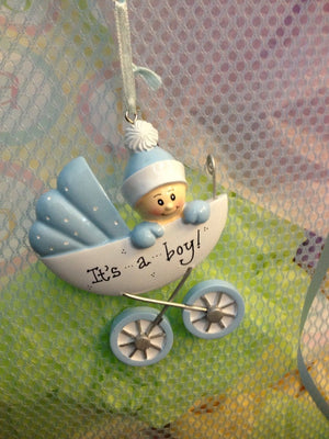 Baby's First Christmas Ornament / Baby Boy Ornament / Blue Baby Carriage