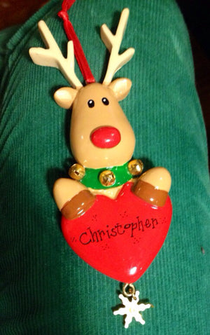 Reindeer with Heart and Snowflake Personalized Christmas Ornament