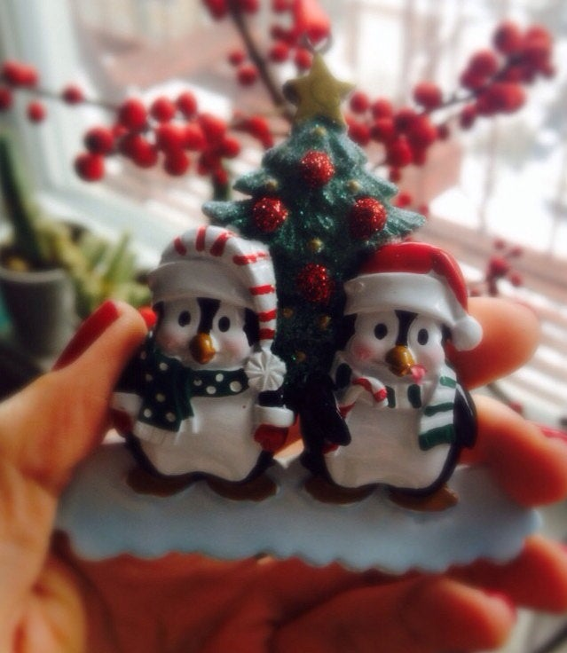 Happy Christmas Penguins personalized Christmas ornament / First Christmas / Whimsical Couple ornament
