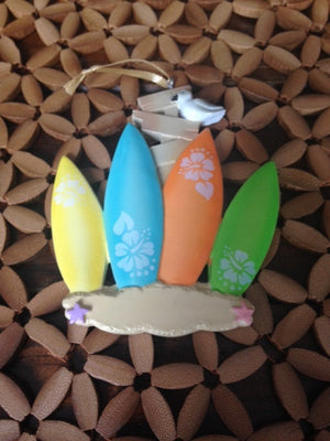 4 Surfboards Personalized Christmas Ornament