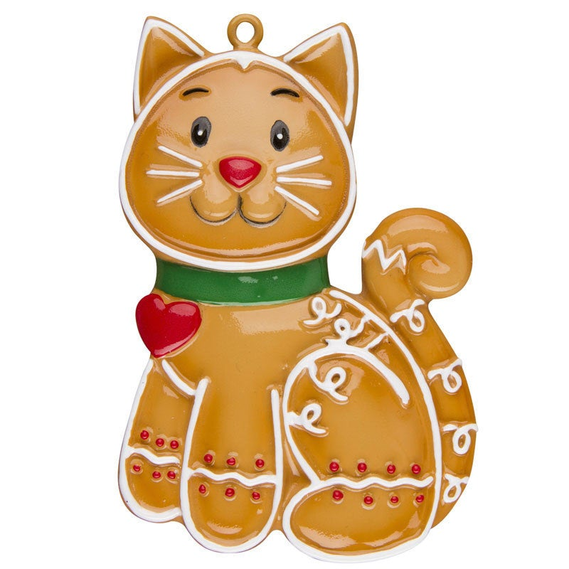 Personalized Christmas Ornament / Gingerbread Cat / custom name or message