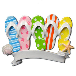 5 Flip Flops Personalized Christmas Ornament