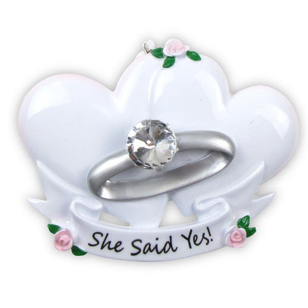 Engagement Ring with Hearts Personalized Christmas Ornament / She Said Yes!
