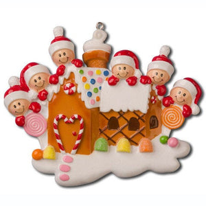 6 Happy Faces in a Gingerbread House Personalized Christmas Ornament