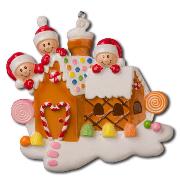 3 Happy Faces in a Gingerbread House Personalized Christmas Ornament