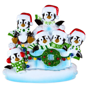 6 Penguins in an Igloo Personalized Christmas Ornament