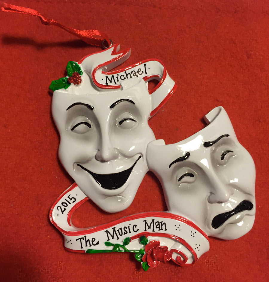 Theater Personalized Christmas Ornament / Theater Masks Ornament / Actor Ornament