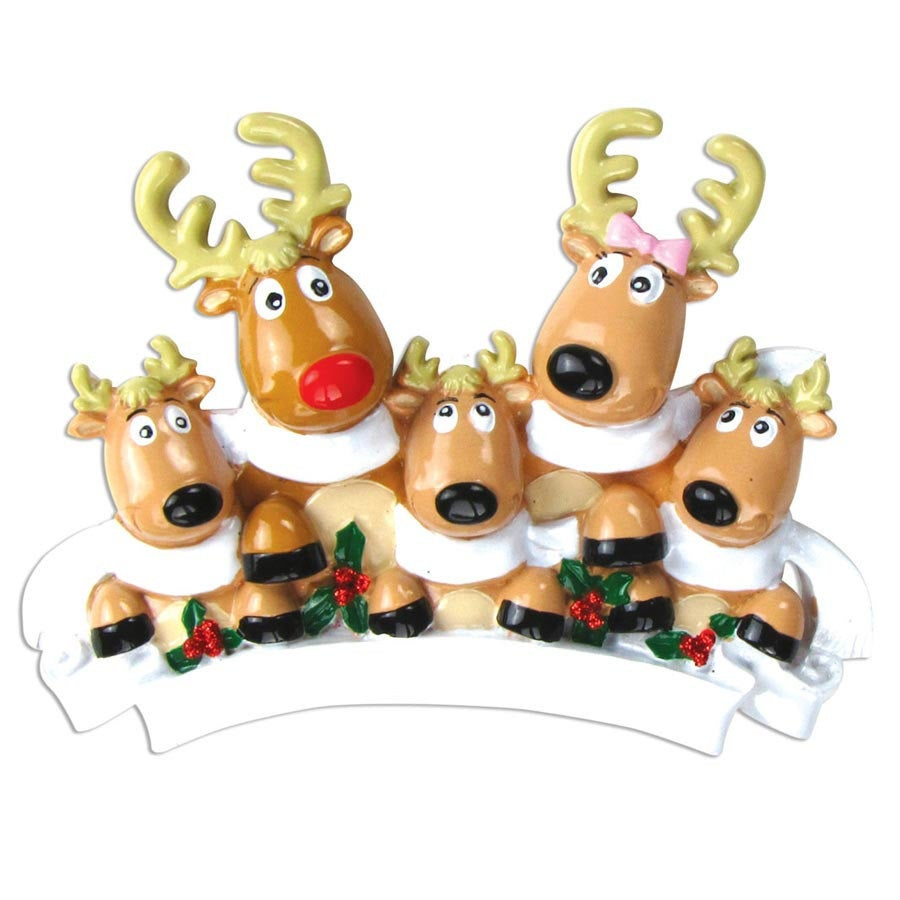 5 Reindeer with Scarves Personalized Christmas Ornament