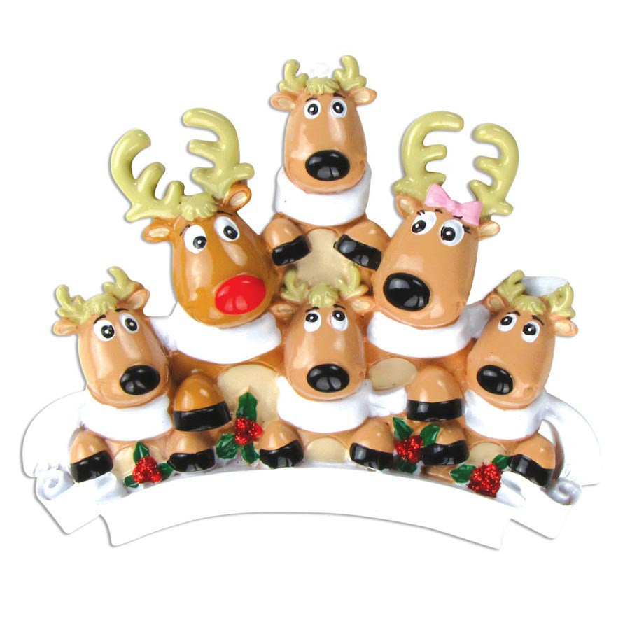6 Family Reindeer with Scarves Personalized Ornament / Family of 6 Reindeer / Reindeer Ornament / Personalized Christmas Ornament