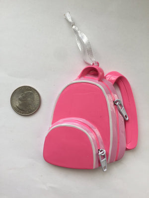 Bright Pink Backpack Personalized Christmas Ornament / First Day of School / Gift for kids