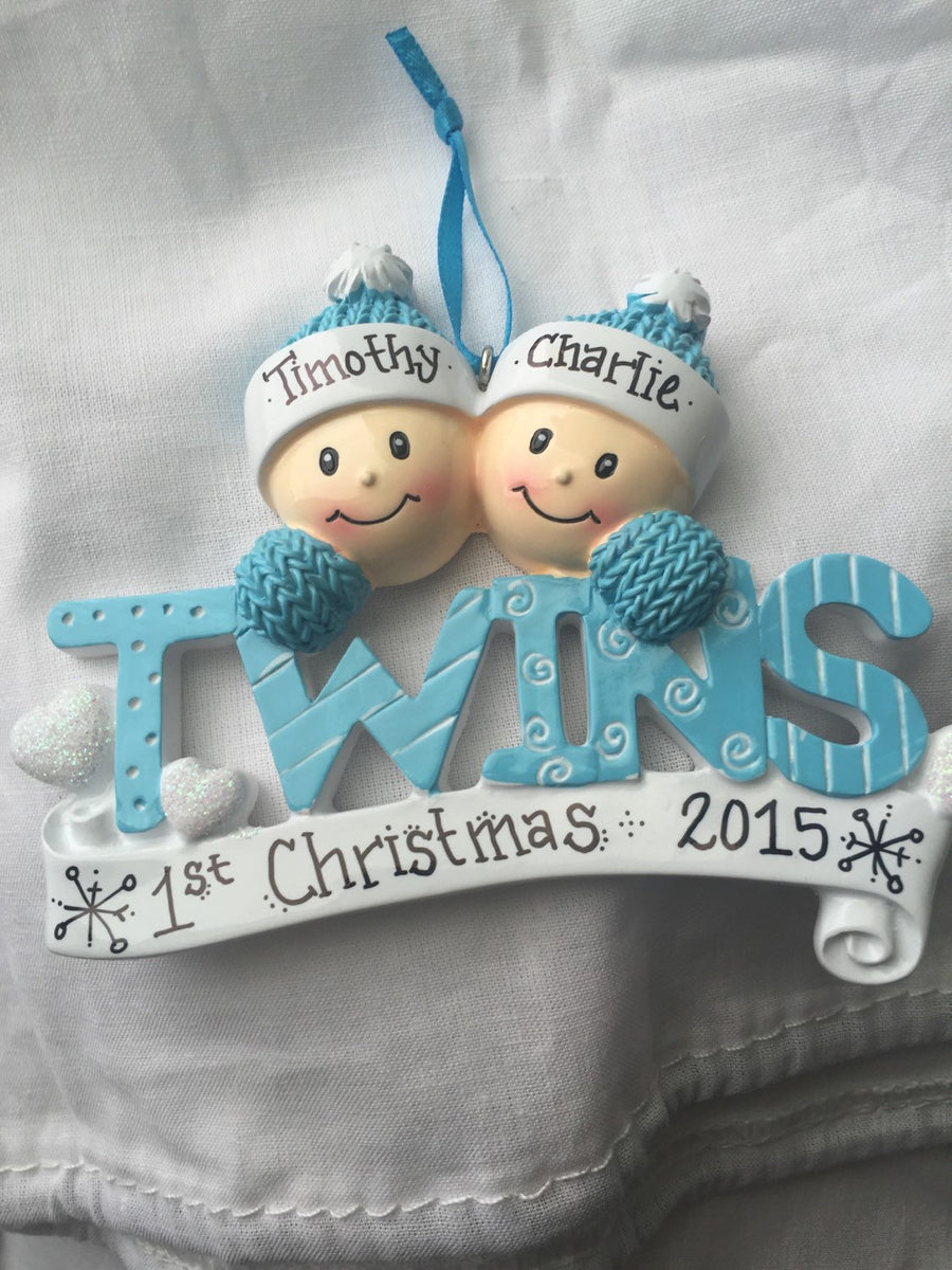 Baby Twins First Christmas Personalized Ornament / Boy Twins