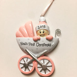 Baby Girl Personalized Christmas Ornament / Baby Girl / Pink Baby Carriage