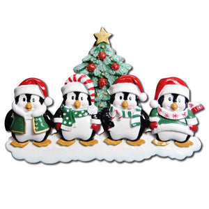 Family of 4 Penguins with a Christmas Tree Personalized Ornament