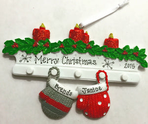 Two Grey and Red Mittens Personalized Christmas Ornament