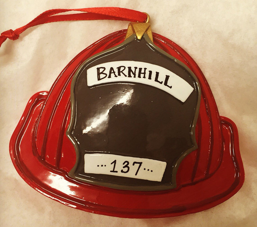 Firefighter Helmet Personalized Christmas Ornament