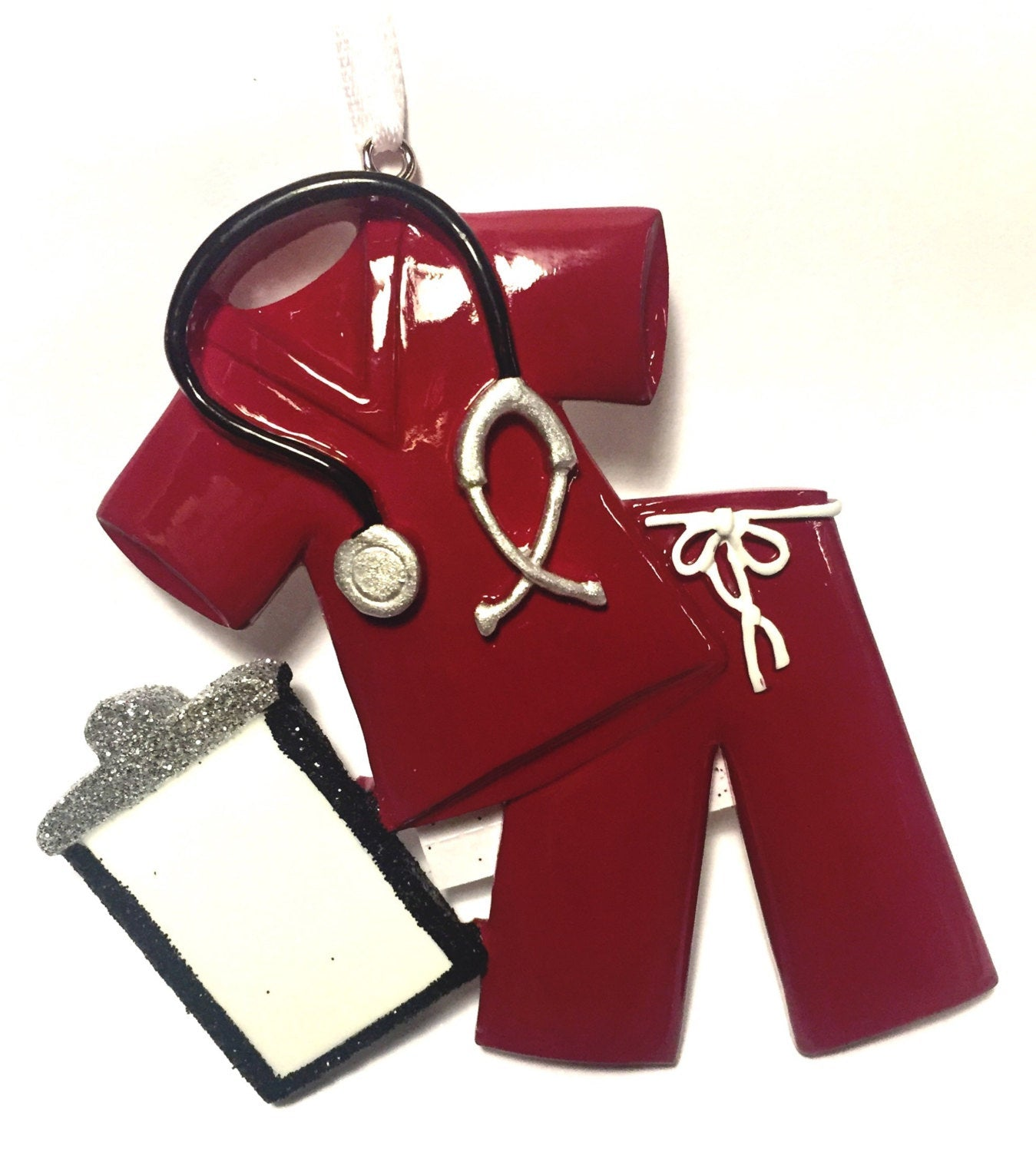 Maroon Scrubs Personalized Ornament Doctor Hand Personalized Christmas Ornament Nurse