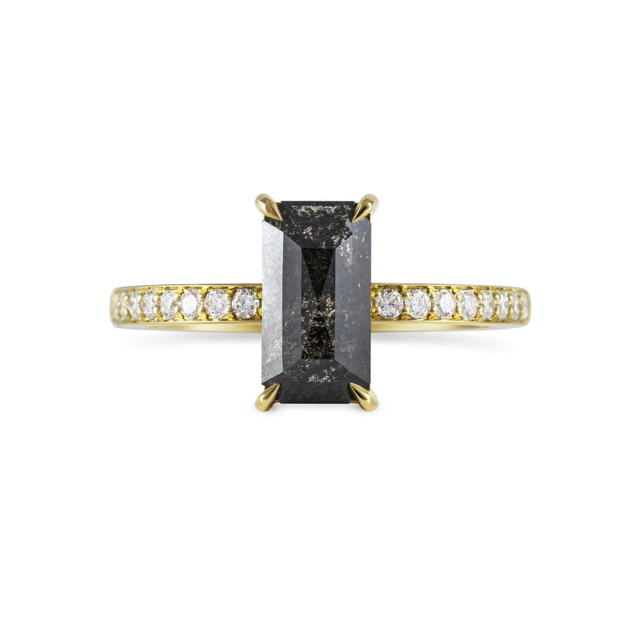Sophia Perez Jewellery Engagement Ring Emerald Cut Black Diamond Pavè Ring