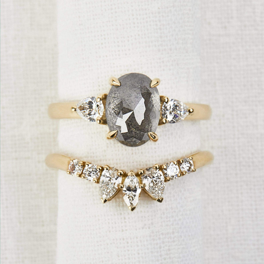 Sophia Perez Jewellery Rings Grey Oval Diamond Trilogy Ring