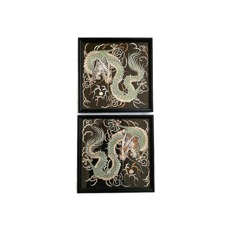 Framed Embroidered Dragons- A Pair