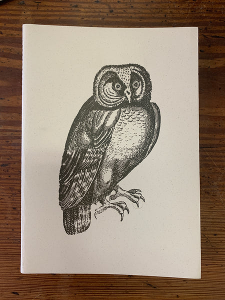 Blank Journal with Letter Press Print Owl