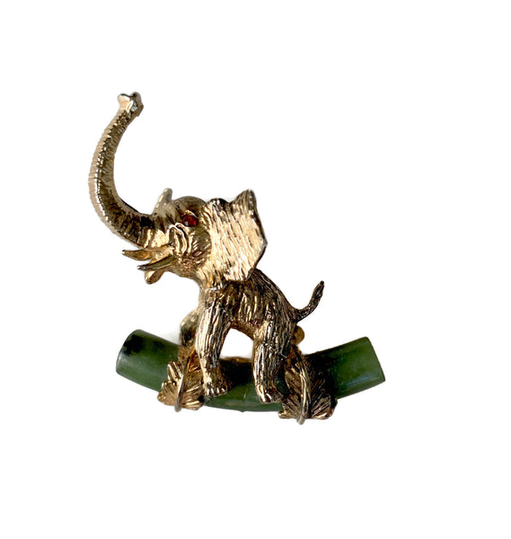 Alice Caviness Sterling Elephant and Jade Brooch