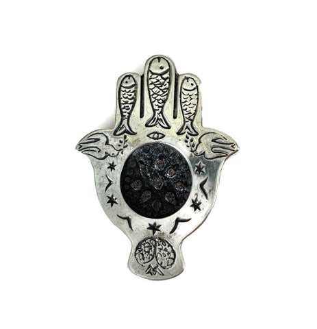 Hamsa Hand Pendant with Ancient Coin