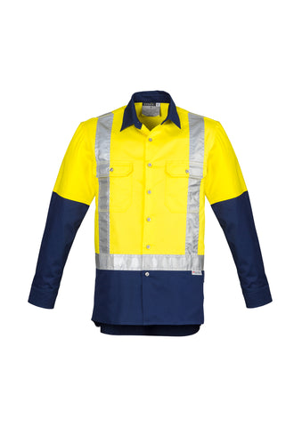 ZW124 - Mens Hi Vis Spliced Industrial Shirt - Shoulder Taped Syzmik