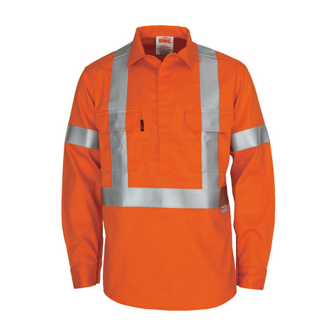 "Patron saint flame retardant arc rated closed front shirt with ""X"" back 3M F/R R/tape - L/S DNC 3408"