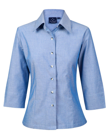 Ladies Wrinkle Free 3/4 Sleeve Chambray Shirts BS04
