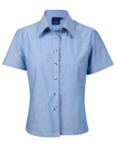 Ladies Wrinkle Free Short Sleeve Chambray Shirts BS05