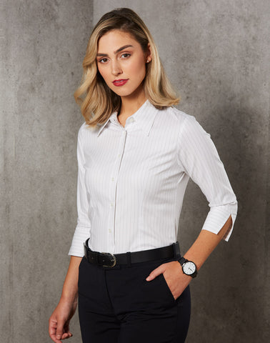 BS18 - Ladies Pin Stripe 3/4 Sleeve Shirt Winning Spirit