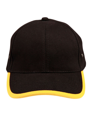 Heavy Brushed Cotton Structured Cap With Peak & Back Trim CH17