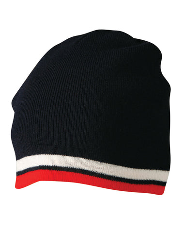 CH63 - Knitted Contrast Stripes Beanie Winning Spirit