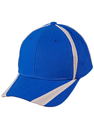 "CH81 - Brushed Cotton Twill Baseball Cap With ""X"" Contrast Stripe Winning Spirit"